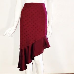 Lovers + Friends L Burgundy Asymmetrical Skirt